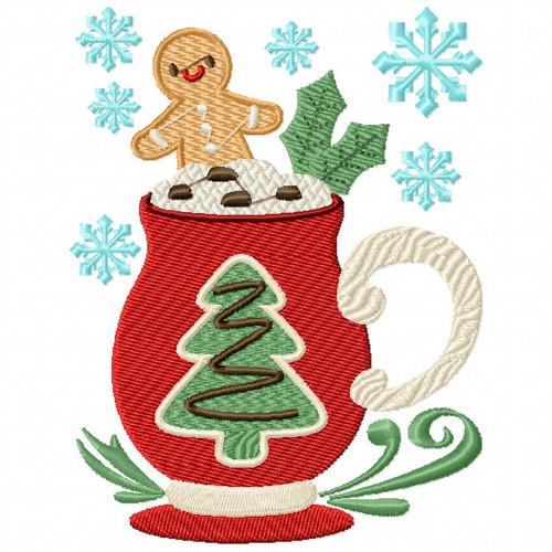 Christmas Tree Drink - Christmas Hot Drinks #03 Machine Embroidery Design