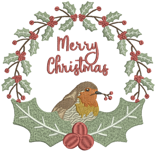 Christmas Robin #05 Machine Embroidery Design
