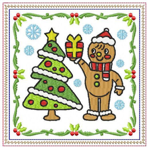Ginger Bread Mug Rug #01 In The Hoop Machine Embroidery Design