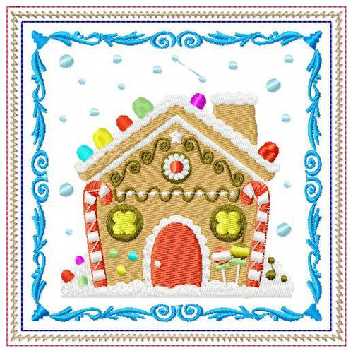 Ginger Bread Mug Rug #02 In The Hoop Machine Embroidery Design