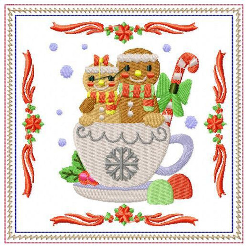 Ginger Bread Mug Rug #03 In The Hoop Machine Embroidery Design