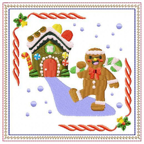 Ginger Bread Mug Rug #05 In The Hoop Machine Embroidery Design
