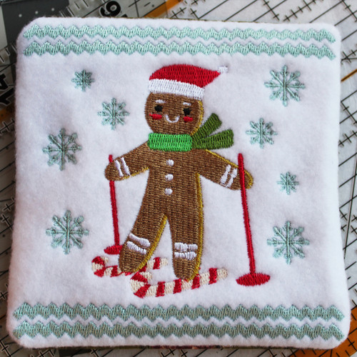 Ginger Bread Mug Rug #09 In The Hoop Machine Embroidery Design