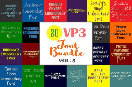 20 VP3 Font Bundle - Volume 5 - 20 Husqvarna Viking Machine Embroidery Fonts