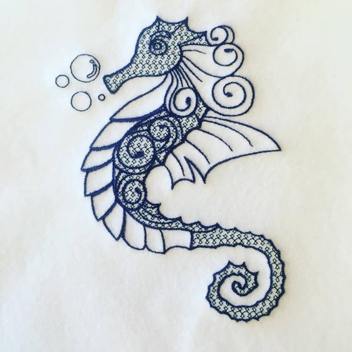 Seahorse Machine Embroidery Design Stitched