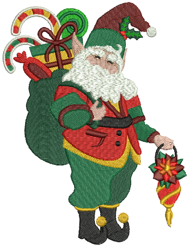 Elf with Gifts - Christmas Scene #06 Machine Embroidery Design