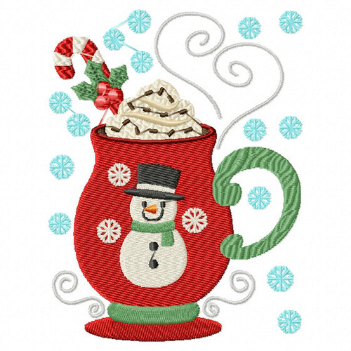 Mug Rug Sweet Snowman Hot Drink #01 In The Hoop Machine Embroidery Design