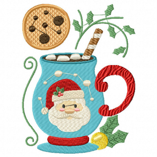 Mug Rug Santa's Mallow Hot Drink #02 In The Hoop Machine Embroidery Design