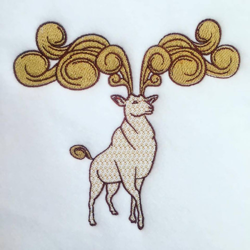 Stag Machine Embroidery Design Stitched
