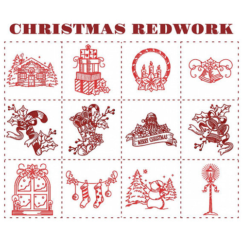 Christmas Redwork Collection of 12 Machine Embroidery Designs in Stitched