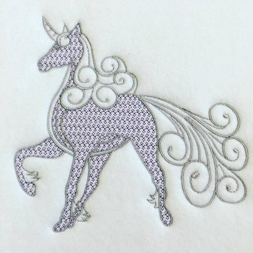 Unicorn Machine Embroidery Design Stitched