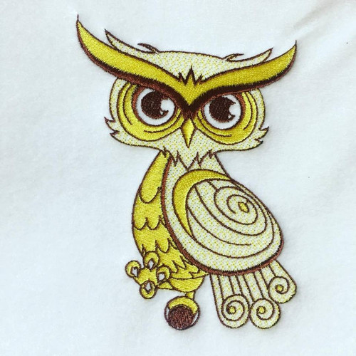 Owl Machine Embroidery Design Stitched