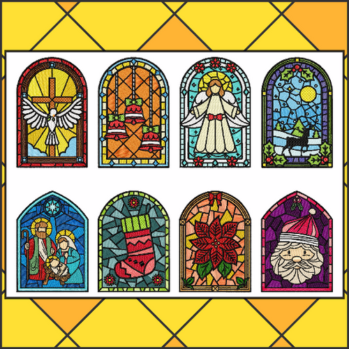 Stained Glass Collection of 8 Machine Embroidery Designs in Stitched