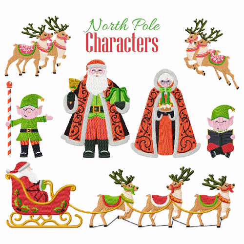 North Pole Characters Collection of 7 Machine Embroidery Designs in Stitched