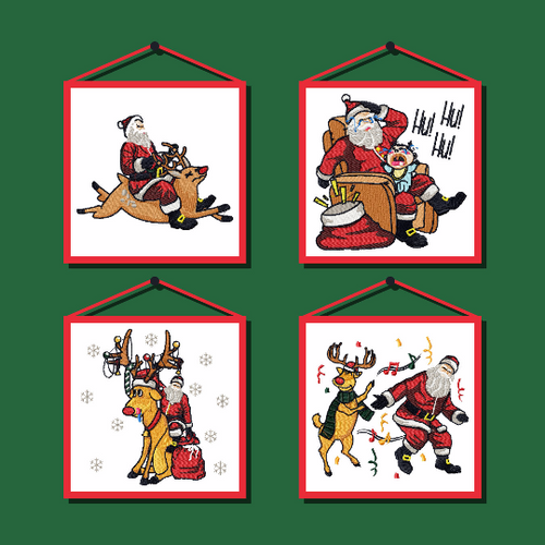 Humor Christmas Design Collection of 4 Machine Embroidery Designs in Stitched