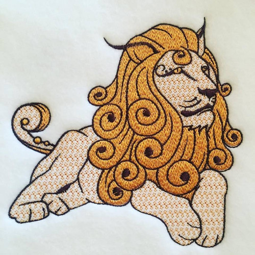 Lion Machine Embroidery Design Stitched