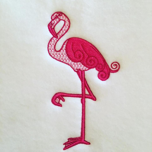Flamingo Machine Embroidery Design Stitched