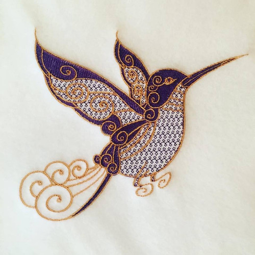 Hummingbird Machine Embroidery Design Stitched
