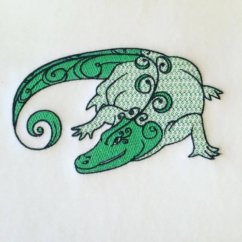 Crocodile Machine Embroidery Design Stitched