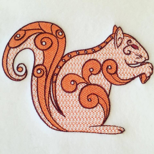 Squirrel Machine Embroidery Design Stitched
