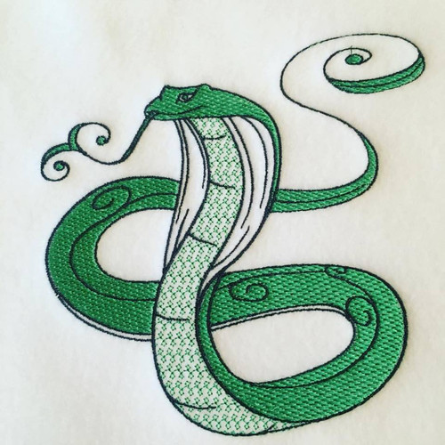 Cobra Machine Embroidery Design Stitched