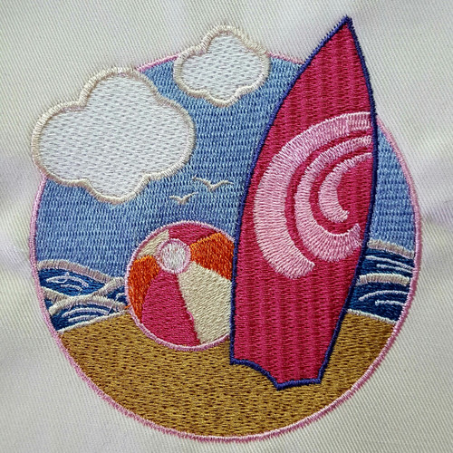 Surfboard Beach Embroidery Design Stitched
