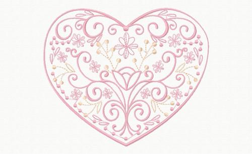 Abstract Heart Swirls Machine Embroidery Deign