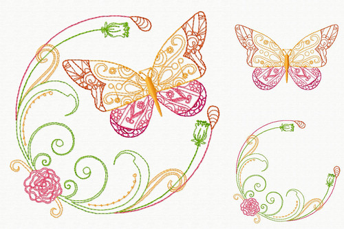 Beautiful Butterfly and Floral #01 Machine Embroidery Design