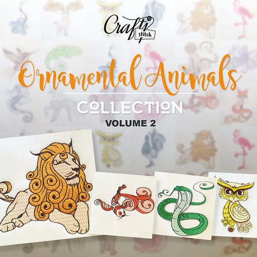 Ornamental Animals Collection Vol. 2, 10 Machine Embroidery Designs
