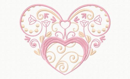 Abstract Heart Swirls #06 Machine Embroidery Design