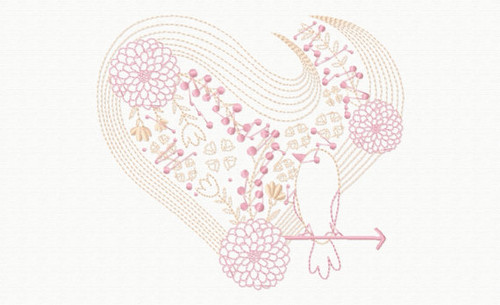 Abstract Heart Swirls #08 Machine Embroidery Design