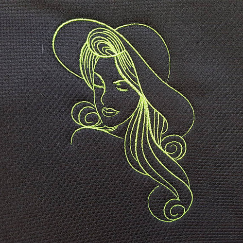 Summer Hat Modern Ladies #6 Machine Embroidery Designs