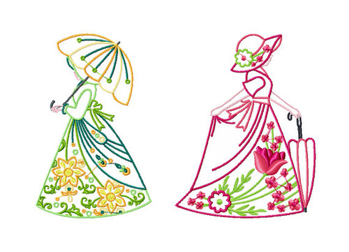 Old Fashioned Floral Ladies Twin Pack #3 Machine Embroidery Designs