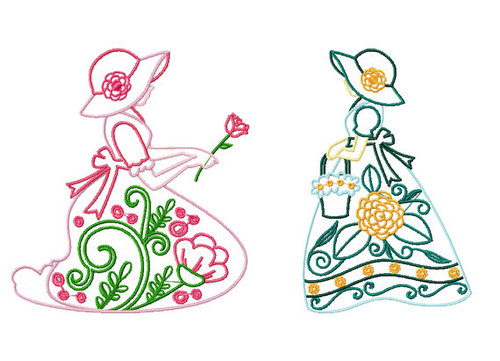 Old Fashioned Floral Ladies Twin Pack #4 Machine Embroidery Designs