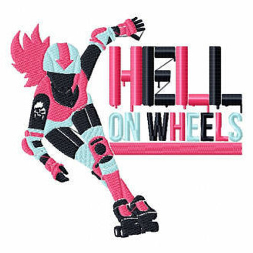 Hell On Wheels - Roller Derby Girl #6 Machine Embroidery Design