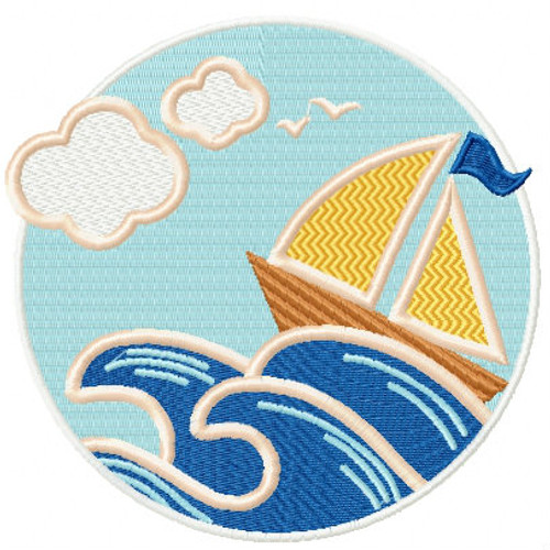 Sailboat - Summer Beach Collection #04 Machine Embroidery Design