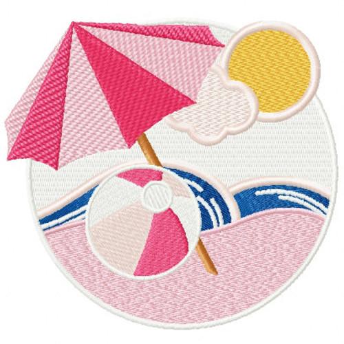 Umbrella- Summer Beach Collection #11 Machine Embroidery Design