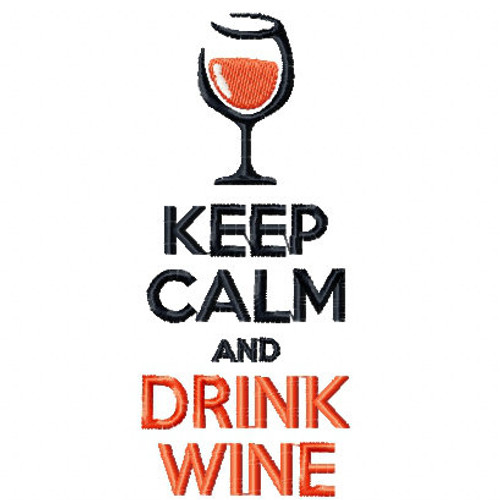 Keep Calm Wine Bag Design #1 Machine Embroidery Design