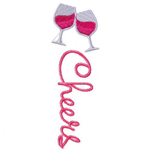 Cheers! Wine Bag Design #3 Machine Embroidery Design