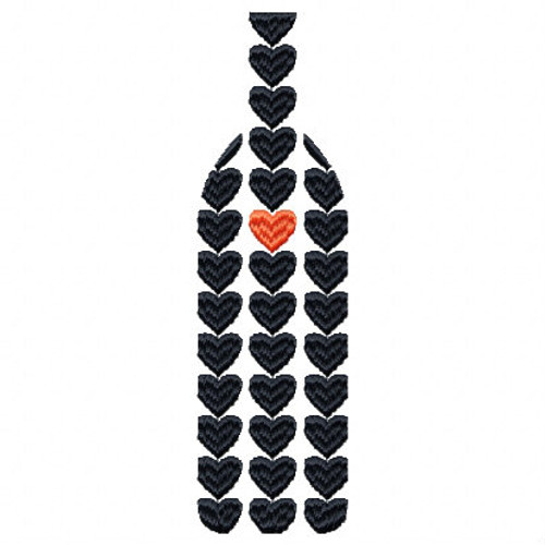 Heart Wine Bottle Wine Bag Design #4 Machine Embroidery Design