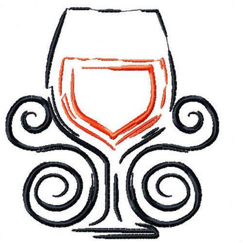 Wine Glass Wine Bag Design #8 Machine Embroidery Design