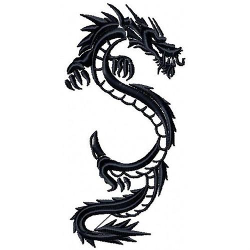 Chinese Dragon Tattoo - Tribal Dragon #4 Machine Embroidery Design
