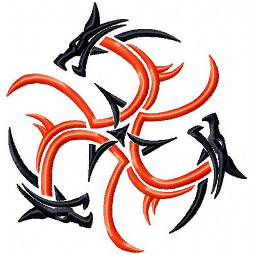 Circle Dragon Tattoo - Tribal Dragon #7 Machine Embroidery Design