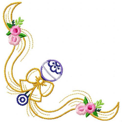 Cute Baby Napkin Corner #04 Machine Embroidery Design