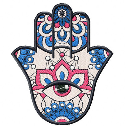 Hamsa Floral #01 Machine Embroidery Design
