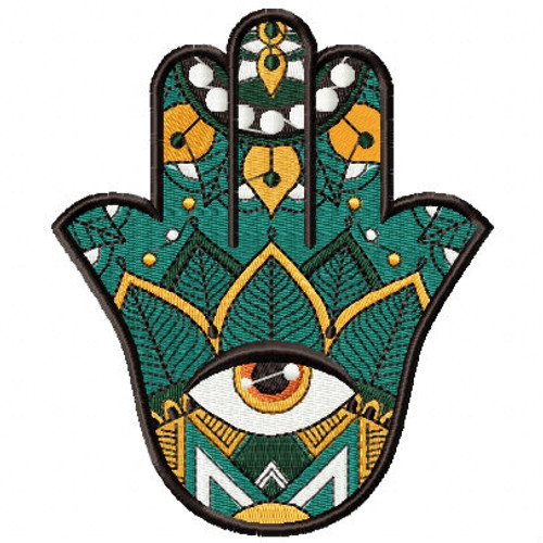 Hamsa Leaf #04 Machine Embroidery Design