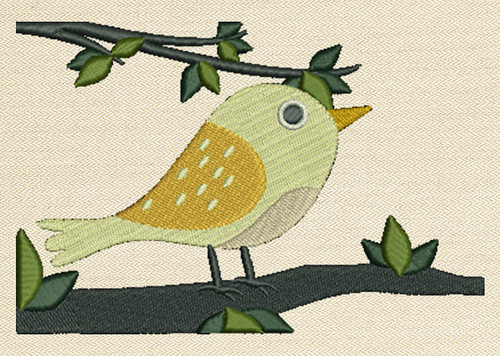 Bird On The Branch Mug Rug In The Hoop Machine Embroidery Design