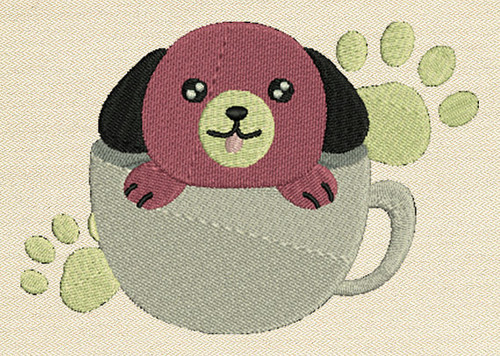 Cute Puppy In The Cup Mug Rug In The Hoop Machine Embroidery Design