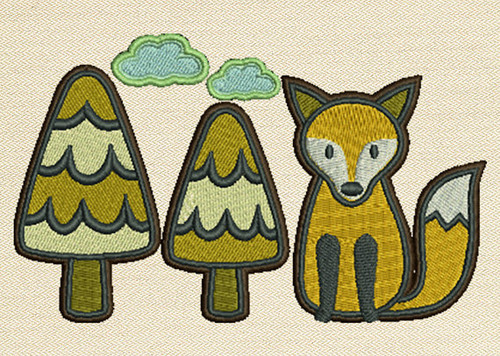 Fox With Pine Trees Mug Rug In The Hoop Machine Embroidery Design