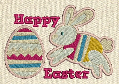 Happy Easter Mug Rug In The Hoop Machine Embroidery Design